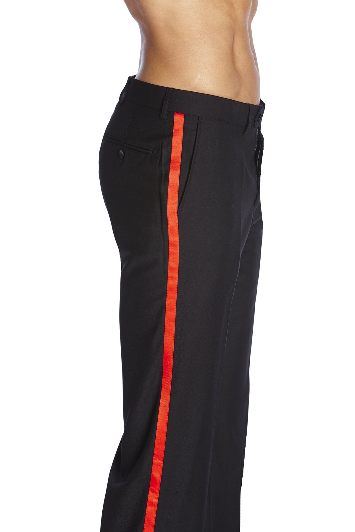 CONCITOR Men's TUXEDO Pants Flat Front with RED Satin Band Black Color 34