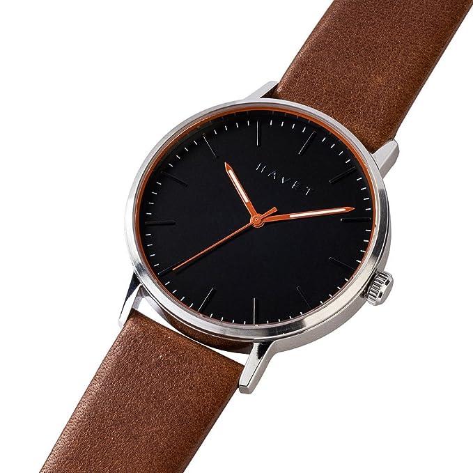 HAVET | Reloj de hombre Halten de acero con esfera negra y correa piel marrón: Amazon.es: Relojes