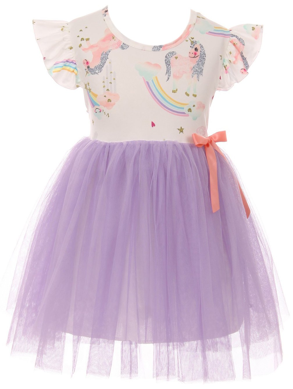 Little Girl Cap Sleeve Unicorn Print Tulle Casual Party Dress Lilac 5 L 201296
