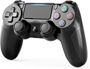 Wireless Controller Compatible with PS4 Remote with Double Vibration and Audio Function 1000 mAh Battery, Controller Compatible with PS4/Pro/Slim, Touch-pad Joystick Game Controller NOT OEM - Black