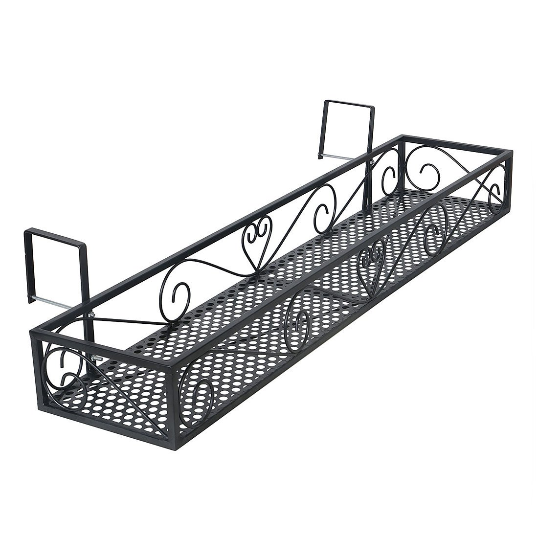 Funmall Hanging Balcony Railing Shelf Flower Pot Holder Metal Plant Stand by Funmall
