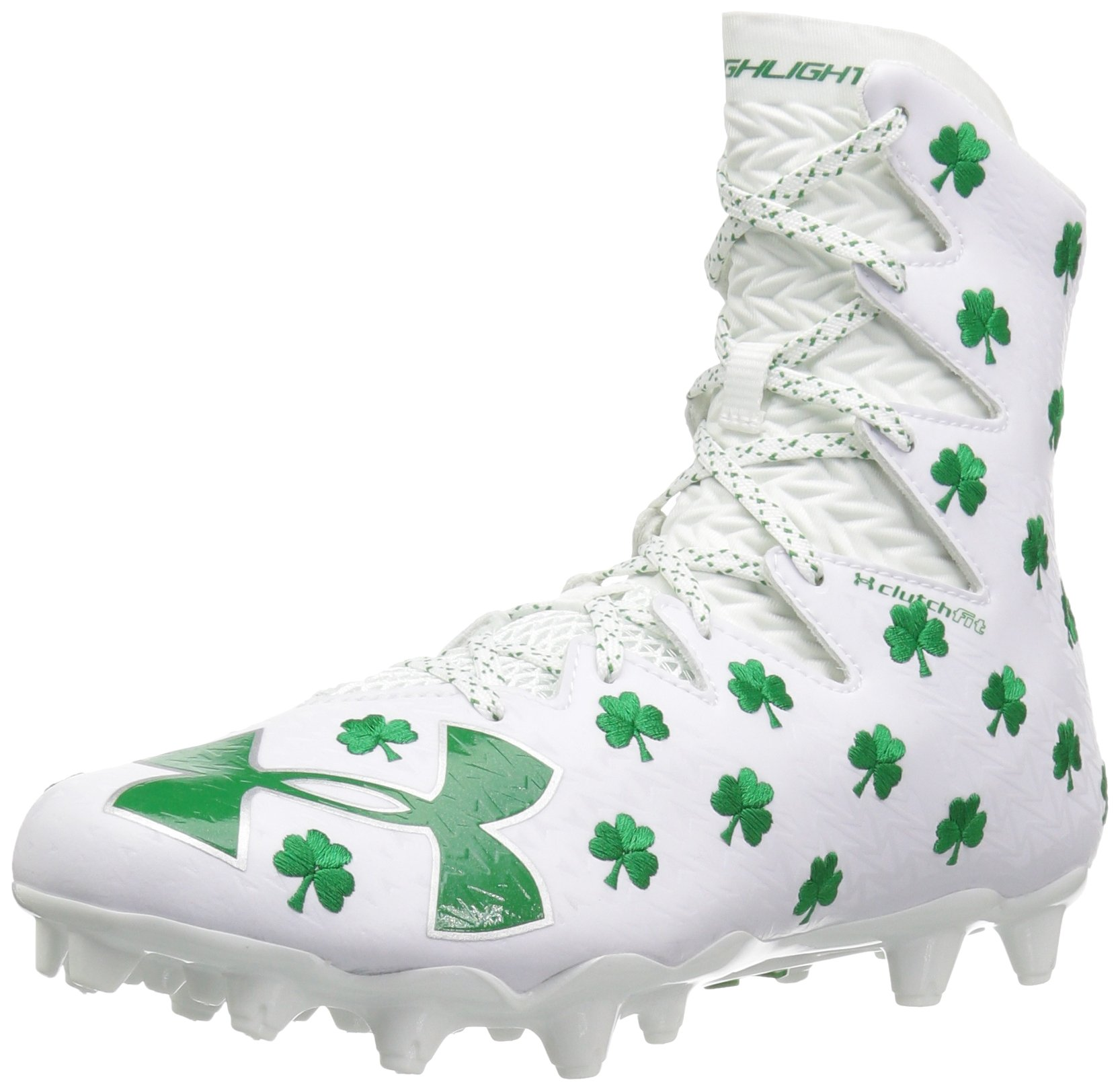 Under Armour Men's Highlight M.C. -Limited Edition Lacrosse Shoe, White (131)/Team Kelly Green, 16