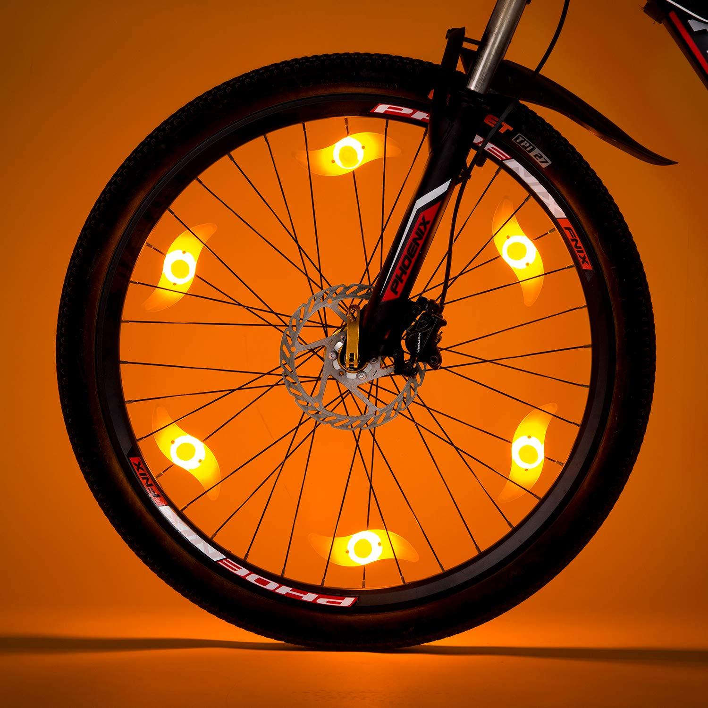 Willceal Bike Spoke Light 6PCS, Bike Wheel Light,Tyre Wire Right with 6 LED Flash Model Neon Lamps,Bike Safety Alarm Light. (Orange)