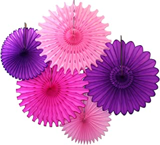 product image for 5-Piece Tissue Paper Fans, Purple Pink Party