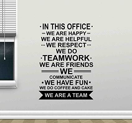 in This Office Wall Decal We are A Team Teamwork Quote Sign ...