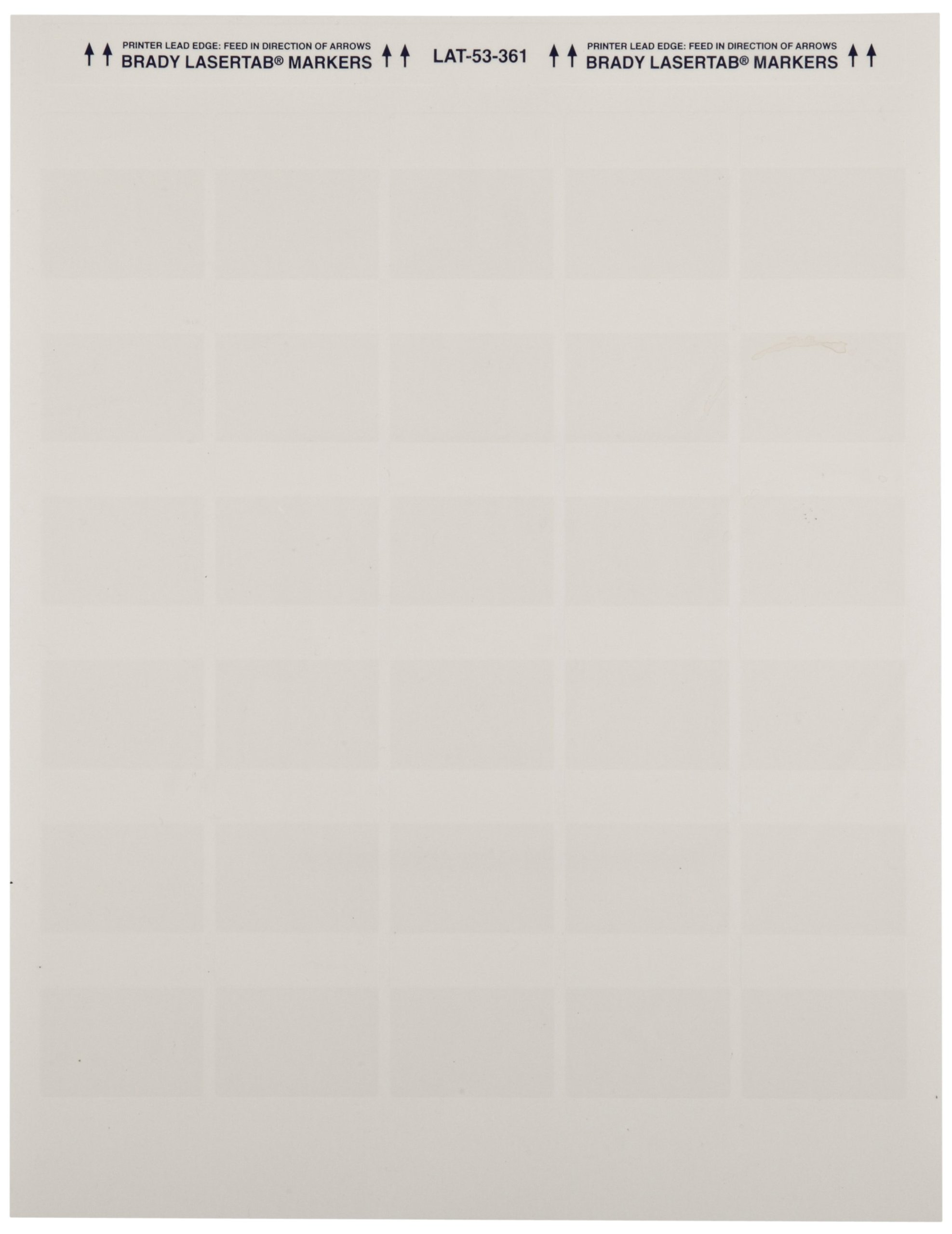 Brady LAT-53-361-1 1.5'' Width x 1.5'' Height, B-361B Self-Laminating Polyester, Matte Finish White/Translucent Laser Printable Label (Pack of 1000)