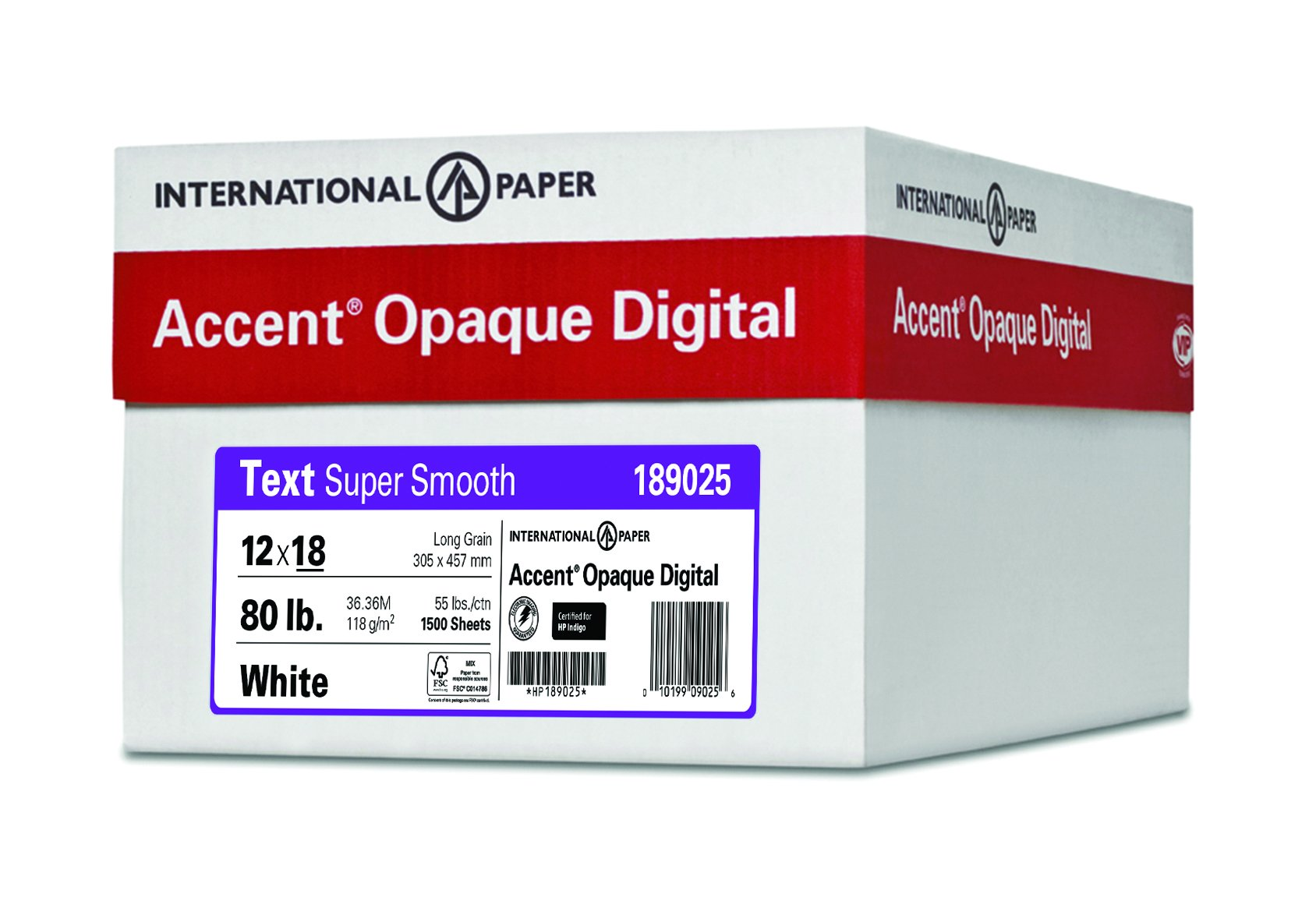 Accent Opaque, Super Smooth White 32lb / 80lb, 12 x 18, 97 Bright, 1,500 Sheets / 5 Ream Case, (189025C) Made in The USA