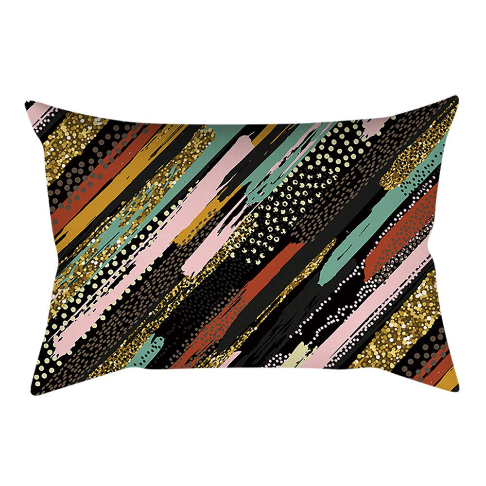 Pgojuni Rectangle Merry Christmas Pillow Case Sofa Waist Linen Blend Pillow Cover Cushion Cover Home Decor 1pc 30cmx50cm (G)
