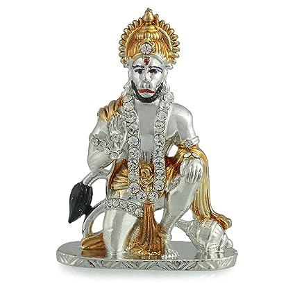 Divine Gifts Hanuman Idol Statue Silver Golden, Hanuman Idol For Car  Dashboard