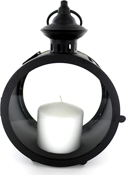 Amazon Com Round Glass Lantern With Metal Frame Unique And Stylish 30751 Kitchen Dining