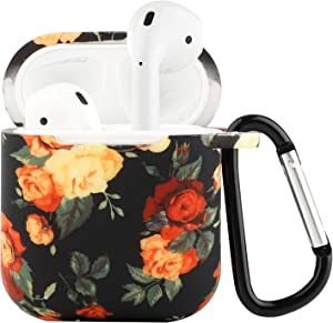 Seadream Silicone Flower Floral Pattern Protective Cover Case Metal Keychain Compatible with Apple AirPods (F)