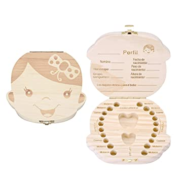 Mogoko Baby Girl Teeth Save Boxes Wooden Teeth Fairy Souvenir Box, Child Kids Tooth Keepsake...
