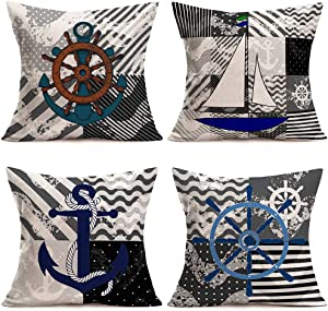 Hopyeer Black Grey Ocean Nautical Theme Throw Pillow Covers Sea Wave Background Nautical Anchor Sailboat Rudder Accent Decorative Pillowcase Home Sofa Decor Cushion Cover 18