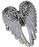 YACQ Jewelry Women's Crystal Angel Wings Stretch Rings Biker Jewelry