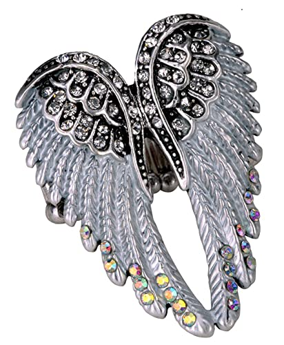 028c959d6 Amazon.com: YACQ Jewelry Women's Crystal Angel Wings Stretch Rings Biker  Jewelry Scarf Ring Buckle Clip: Jewelry