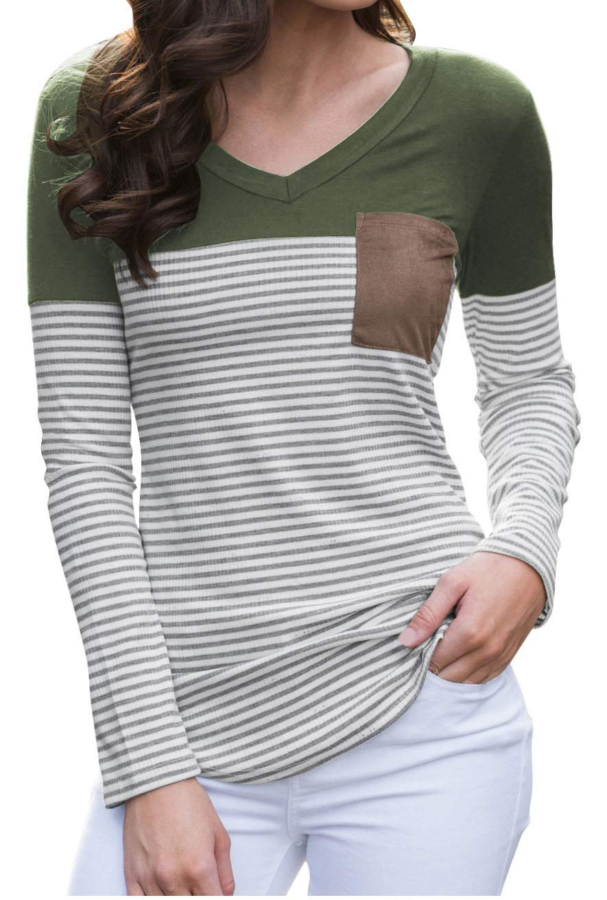 Finoceans Womens Striped Tunic Fit Pullover Sweatshirts Suede Pocket Tops Green