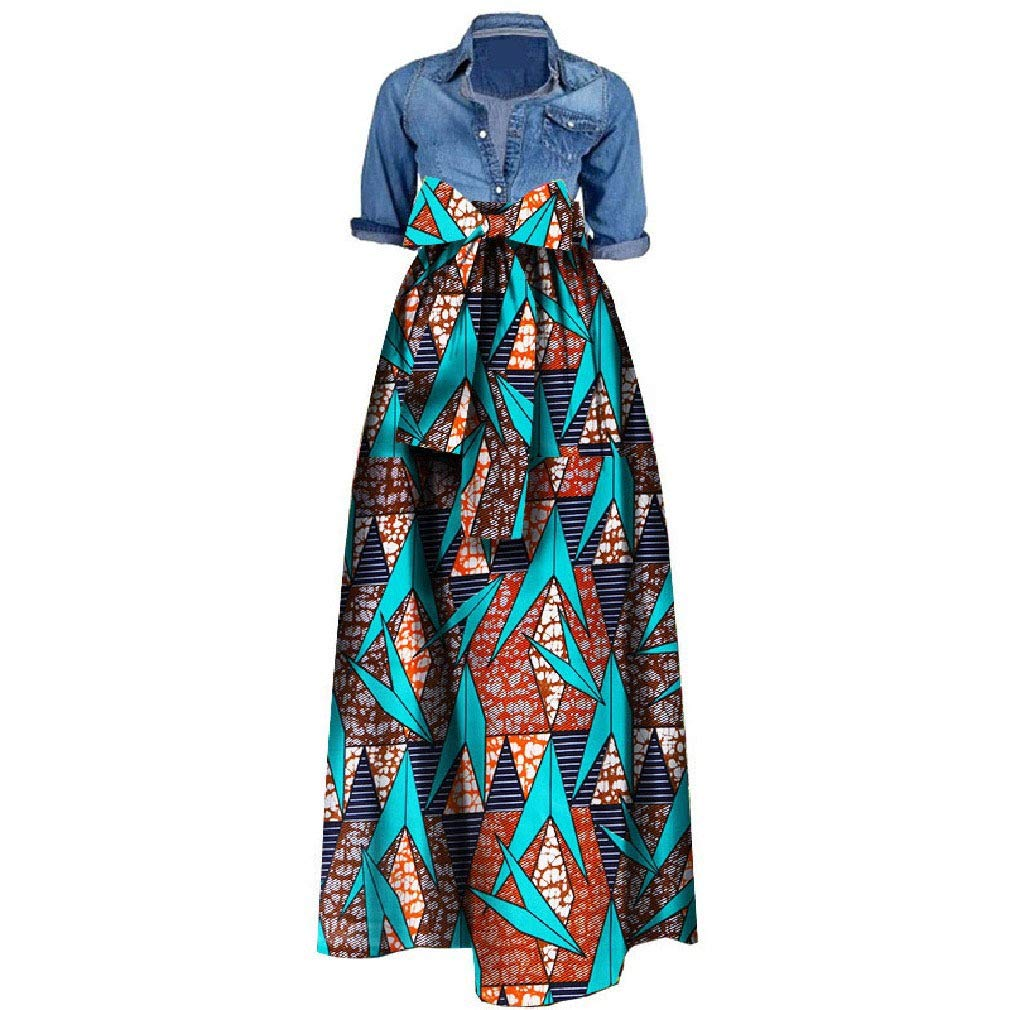 26 Vska Womens Printed Over Waist Bowknot Ball Gown Dashiki Long Skirt