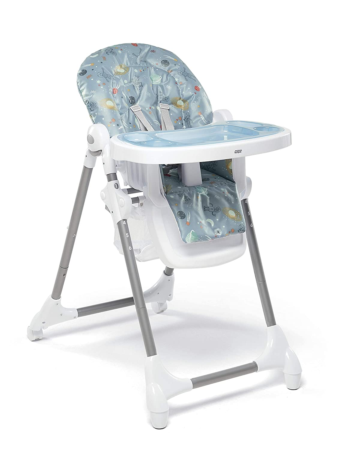 Mamas & Papas Adjustable Baby Highchair, Removable Tray - Space Robots 1152FB400