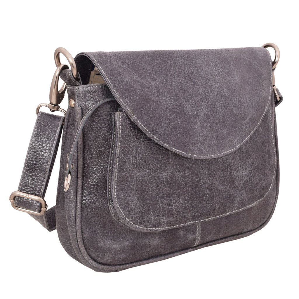 Latico Leathers Sabria Shoulder Bag Genuine Authentic Luxury Leather, Designer Made, Business Fashion and Casual Wear, Pebble Denim