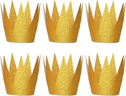 Azul jojofuny Sombrero de Coronas de 6 Piezas Sombreros de Corona de Cumplea/ños con Purpurina Sombreros de Fiesta Coronas de Pr/íncipe para Decoraciones de Fiesta para Ni/ños Y Adultos