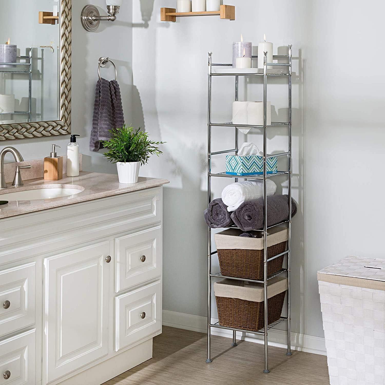 Amazon Com Honey Can Do Bth 03484 6 Tier Metal Tower Bathroom Shelf 12 6 L X 11 W X 59 8 H Chrome Home Kitchen
