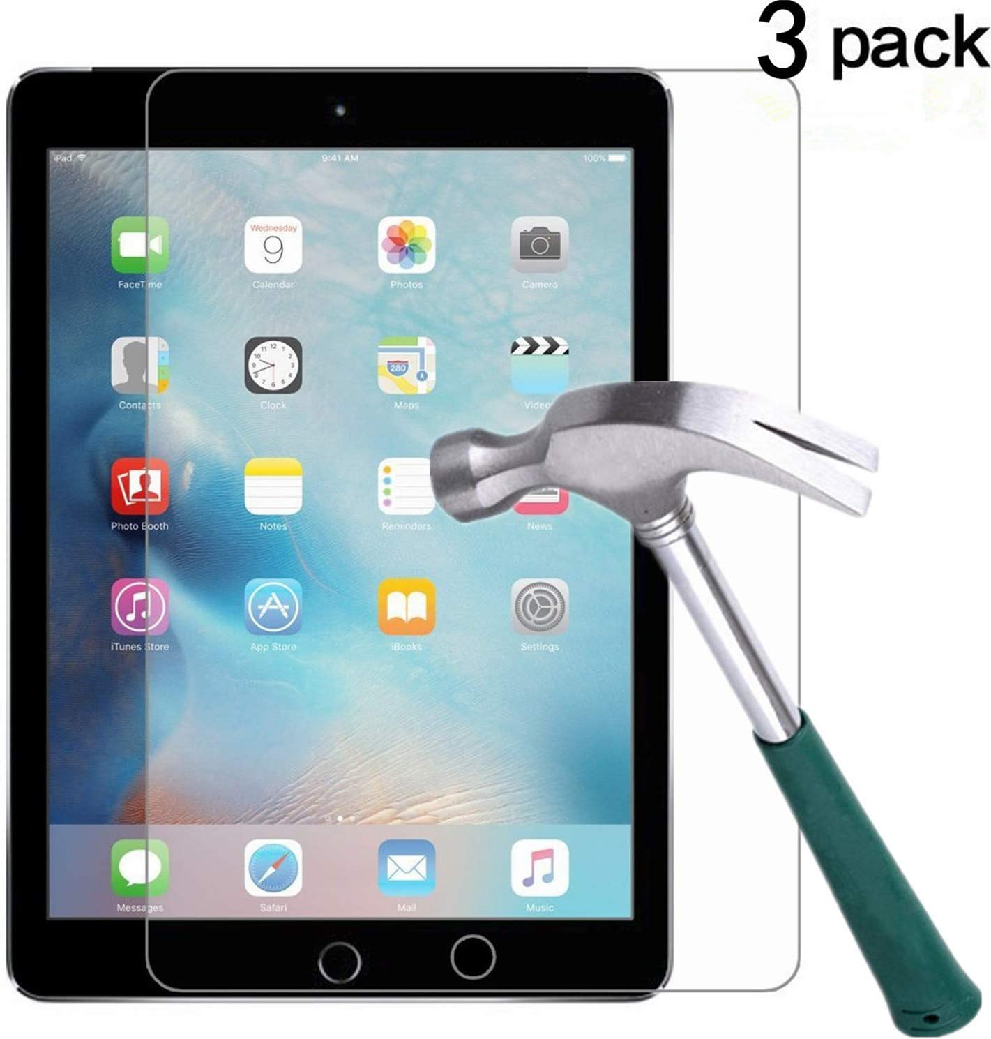 New iPad Pro 12.9 (2017) / iPad Pro 12.9 Screen Protector [3-Pack],TANTEK Tempered Glass/Bubble-Free/Anti-Scratch Screen Protector For 12.9-inch iPad Pro (2015/2017 Model)