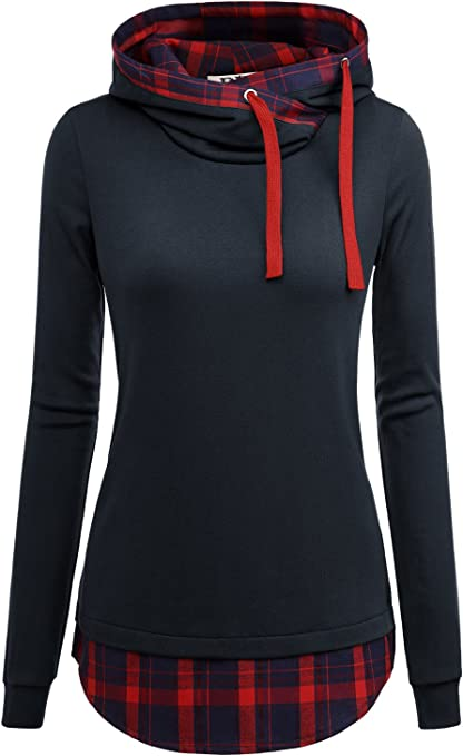 TALLA L. DJT, Sudadera manga larga para mujer, con capucha 2en 1, diseño de cuadros, túnica
