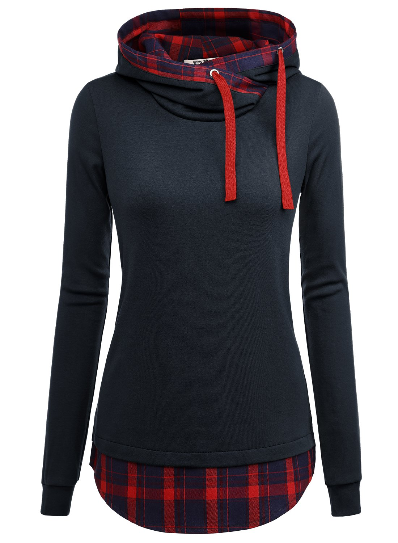 DJT Women's Funnel Neck Check Contrast Pullover Hoodie Top Medium Navy