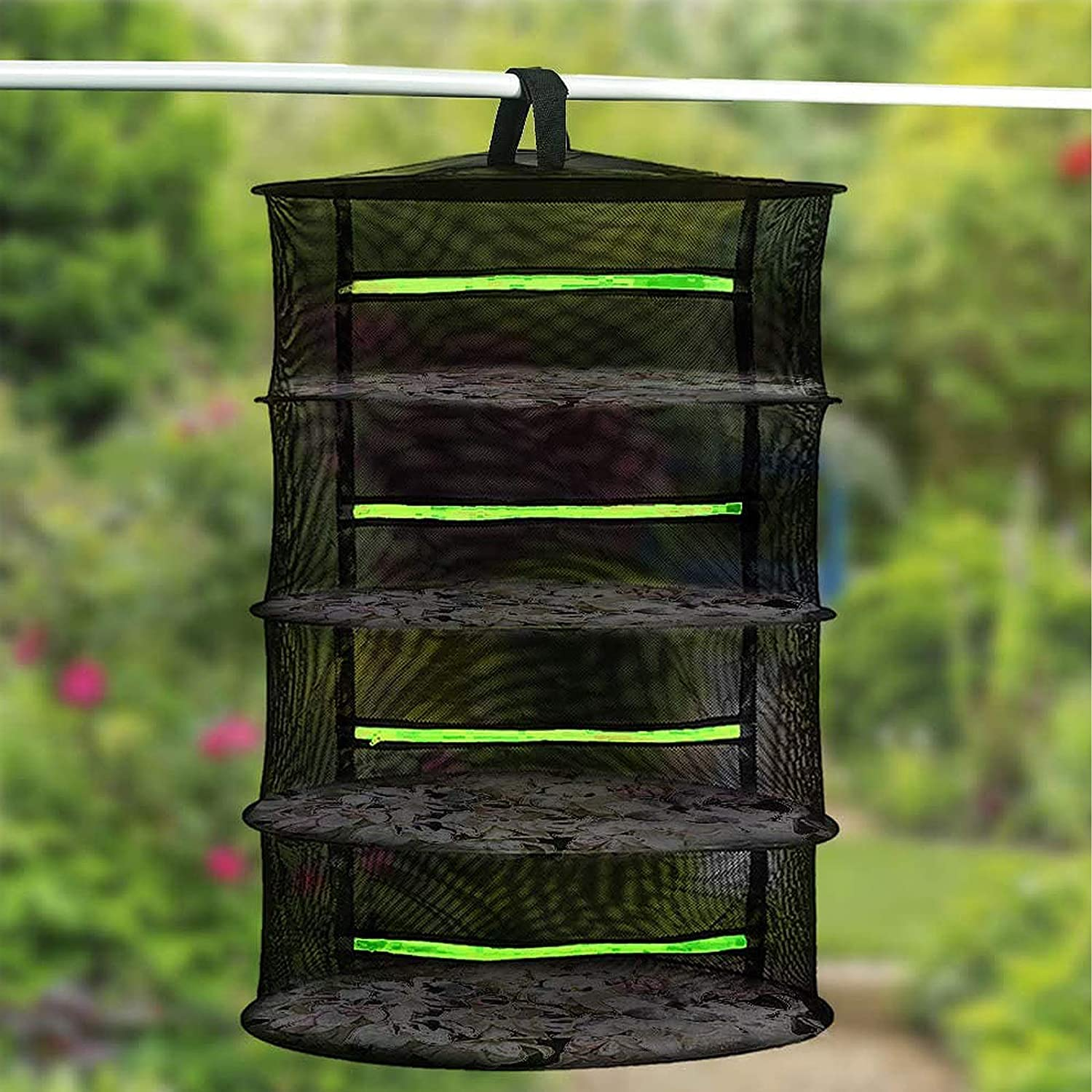 Herb Drying Rack Hanging Plant and Bud Drying Rack 2ft 4 Layer Mesh Hanging Plant Dry Net for Drying Seeds Herb Bud Hydroponic Plants