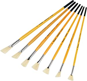 Lightwish White Bristle Stiff Fan Brush Paint Set of 7 for Oil, Gouache, Acrylic