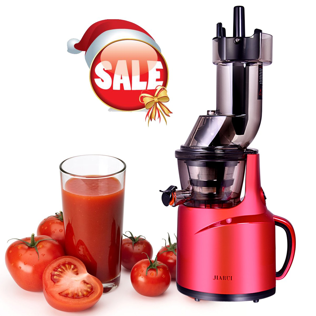 BPA-Free Whole Slow Juicer with Wide Mouth Juice Maker, 240W AC Motor, High Nutrient Fruit and Vegetable Juice JQUEEN
