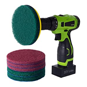 Kichwit 5 Inch Drill Powered Brush Tile Scrubber Scouring Pads Cleaning Kit, 2 Different Stiffness, 5-Inch Disc Pad Holder with 6 Scrubbing Pads, Cleans Large Flat Areas Perfectly (Drill NOT Included)