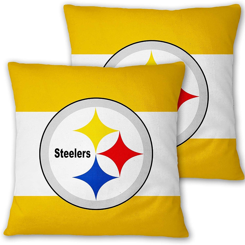 Deztibos Throw Pillow Covers Super Bowl Pillowslip Football Team Pillow Protecter Soft Square Pillowcase with Hidden Zipper for Home Decor Sofa Car 18 x18inches(Steelers)