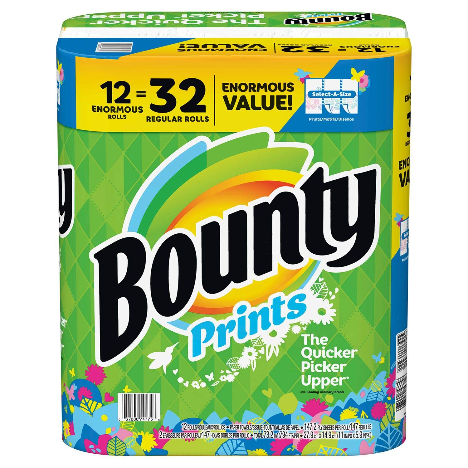 Amazon.com: Bounty Select-A-Size Paper Towels, Print, 12 Enormous Rolls=32 Regular Rolls: Kitchen & Dining