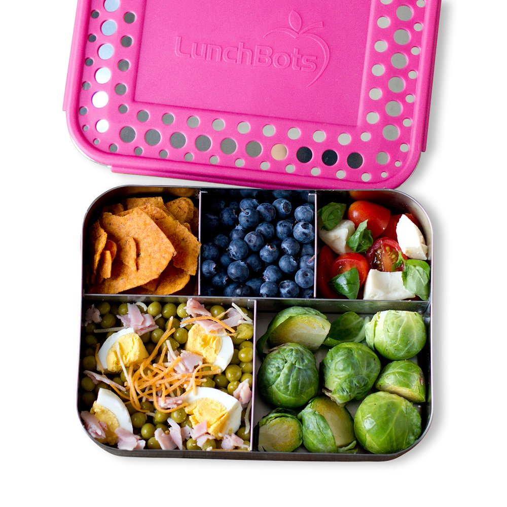 LunchBots Large Cinco Stainless Steel Lunch Container Five Section Design Holds a Variety of Foods Metal Bento Box for Kids or Adults All Stainless Dishwasher Safe Stainless Lid