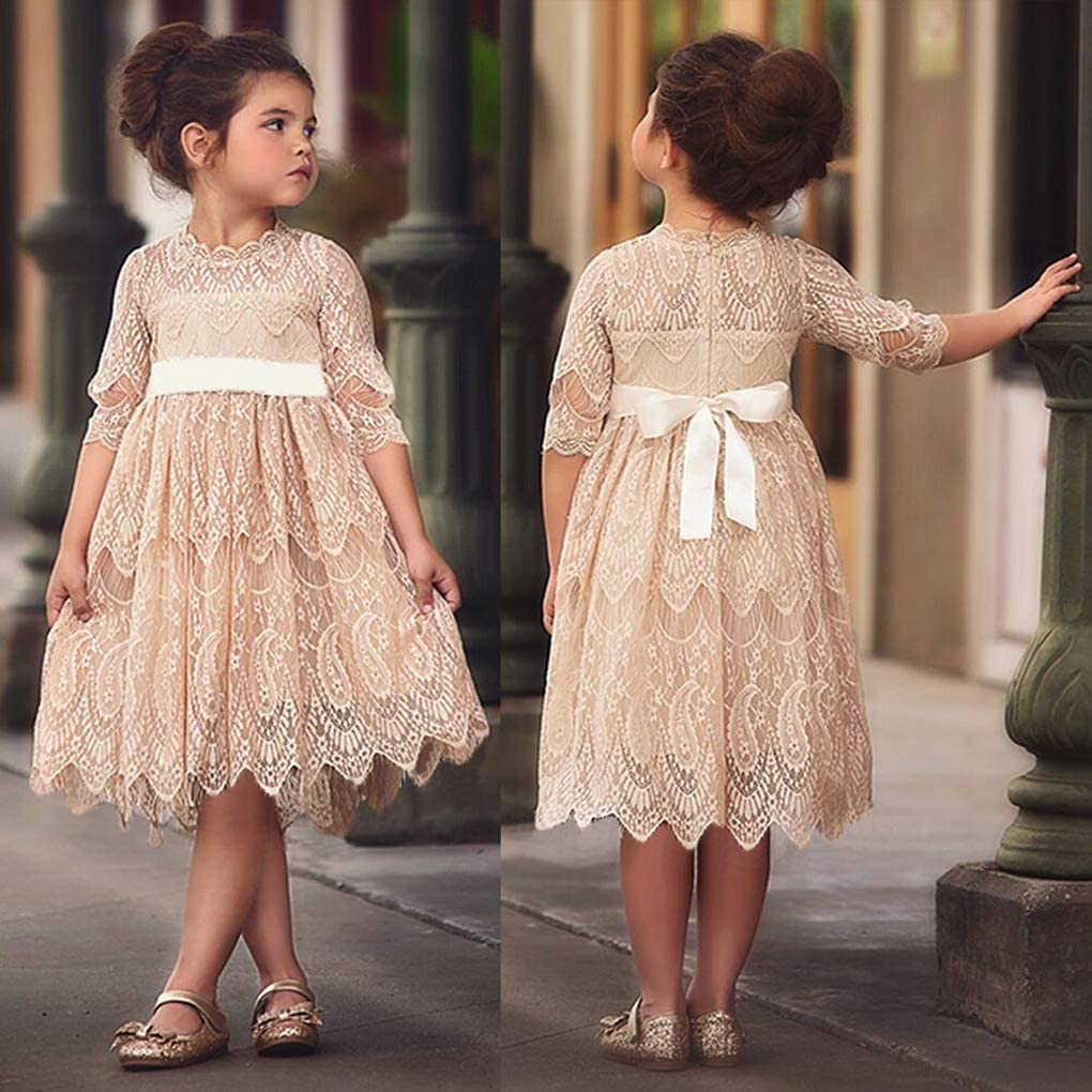 Little//Big Girls Vintage Flower Girl Birthday Party Wedding Lace Long Dress