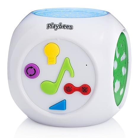 Playbees Máquina de Sonidos para Bebés y Proyector Nocturno, Proyección de Formas y Estrellas Activada por Sonido con Música de Naturaleza ...