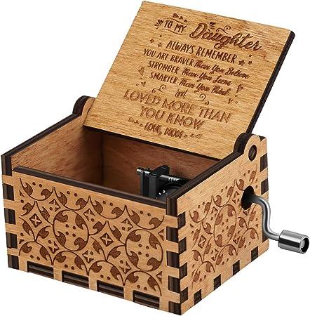 Nnduo You are My Sunshine cajas de música de madera, grabadas con láser, vintage, caja musical de madera, regalos para cumpleaños, Navidad, día de San Valentín, Mom to Daughter, 2.55*1.97*1.5 inch: Amazon.es: