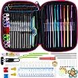 Anpro Set de Crochets Aluminium 100 PCS Accessoires à Tricot Outils Trousse Rose En Cuir