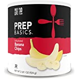 Prep Basics Dehydrated Banana Chips | 2 Pack Large CANS | Emergency Food Supply | 10, 560 Total Calorie | 44 Totalg Protein |