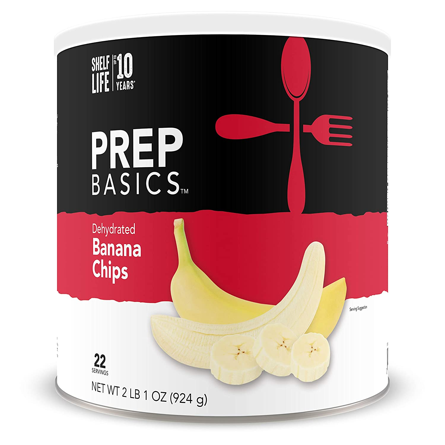 Prep Basics Dehydrated Banana Chips | 2 Pack Large CANS | Emergency Food Supply | 10, 560 Total Calorie | 44 Totalg Protein | Shelf Lifeup To 10 Years