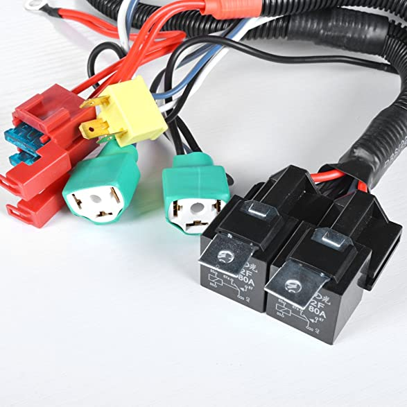 71uuDnRUJvL._SY587_ amazon com dual high low beam headlight relay wiring harness h4  at reclaimingppi.co