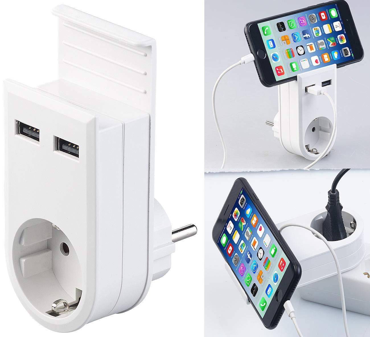 revolt USB Ladegerä te: Steckdose mit Doppel-USB-Netzteil & Smartphone-Ablage, 3,4 A/ 17 Watt (Multi-USB-Ladestation)