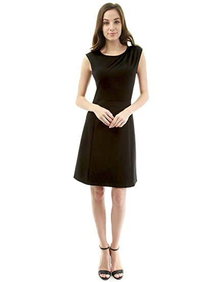 ca63764f26638 PattyBoutik Women Crewneck Pleated Shoulder A-Line Dress: Amazon.co.uk:  Clothing