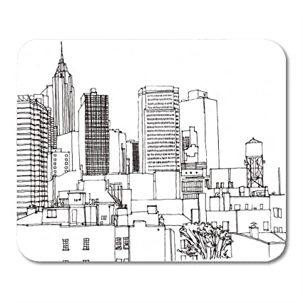 Amazon Com Emvency Mouse Pads Scene Street Ink Line Sketch New