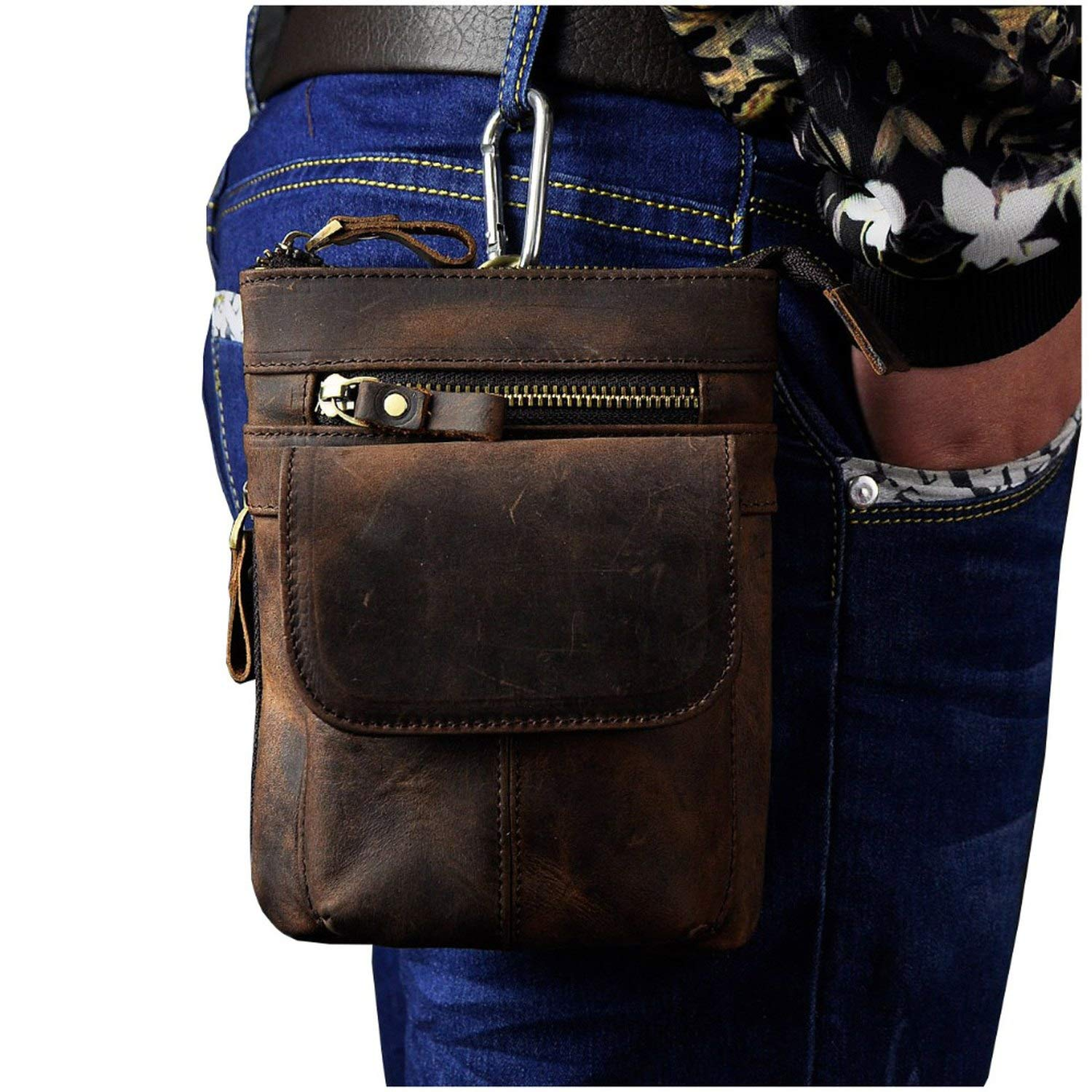 Leather Male Casual Mini Shoulder Messenger Crossbody Bag Belt Waist Bag Travel Small Pouch Men,Grey