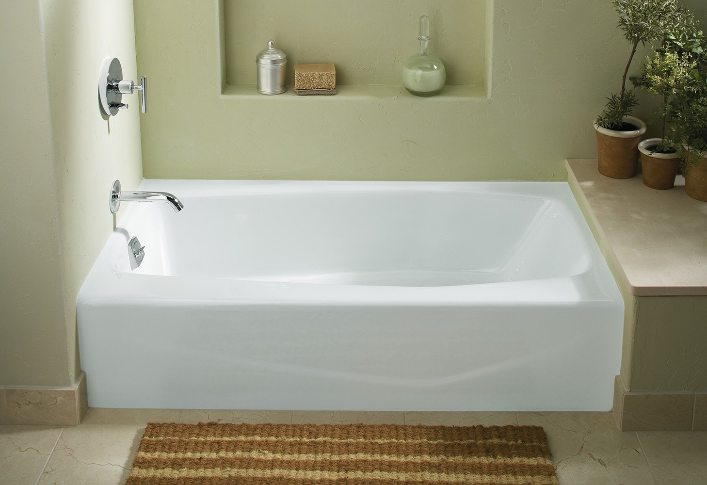 KOHLER K 715 0 Villager Bath With Left Hand Drain, White   Recessed Bathtubs    Amazon.com