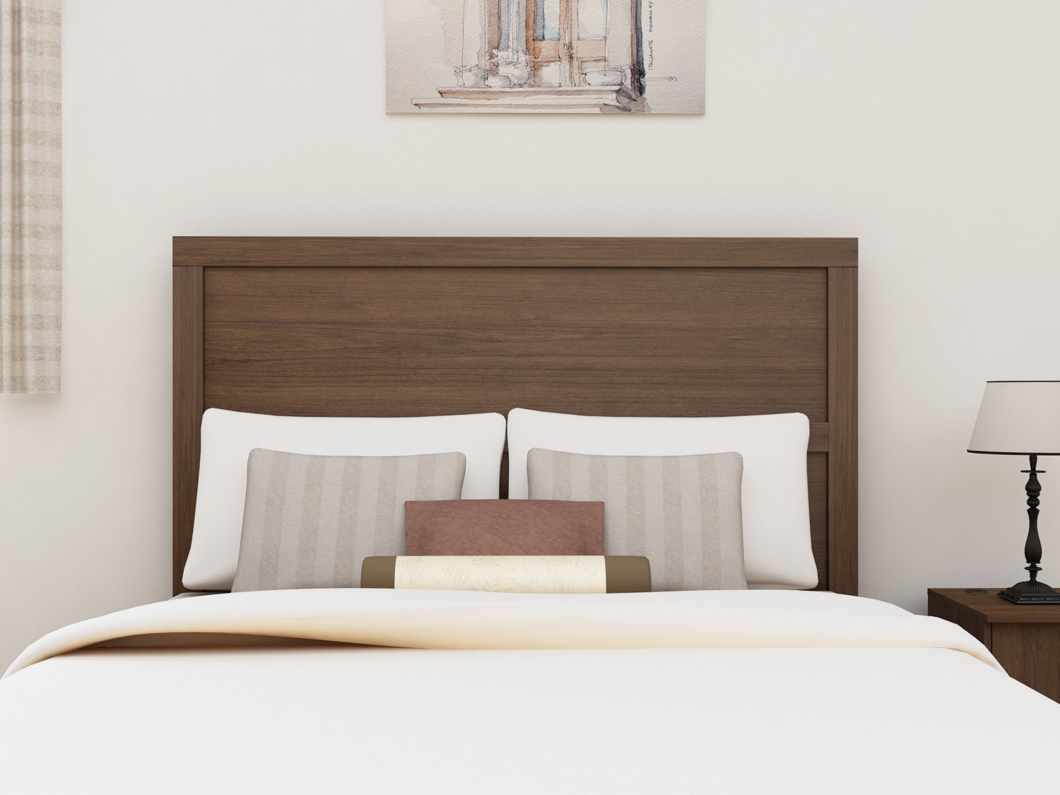 Homestar EB209134TW Finch Queen & Full Headboard, 62.99 x 51.14 x 1.85'', Torino Walnut