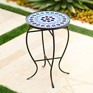 Teal Island Designs Cobalt Mosaic Black Iron Outdoor Accent Table