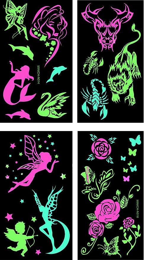 Amazon.com: Premium Glow in the Dark Tattoos Glowing Temporary ...